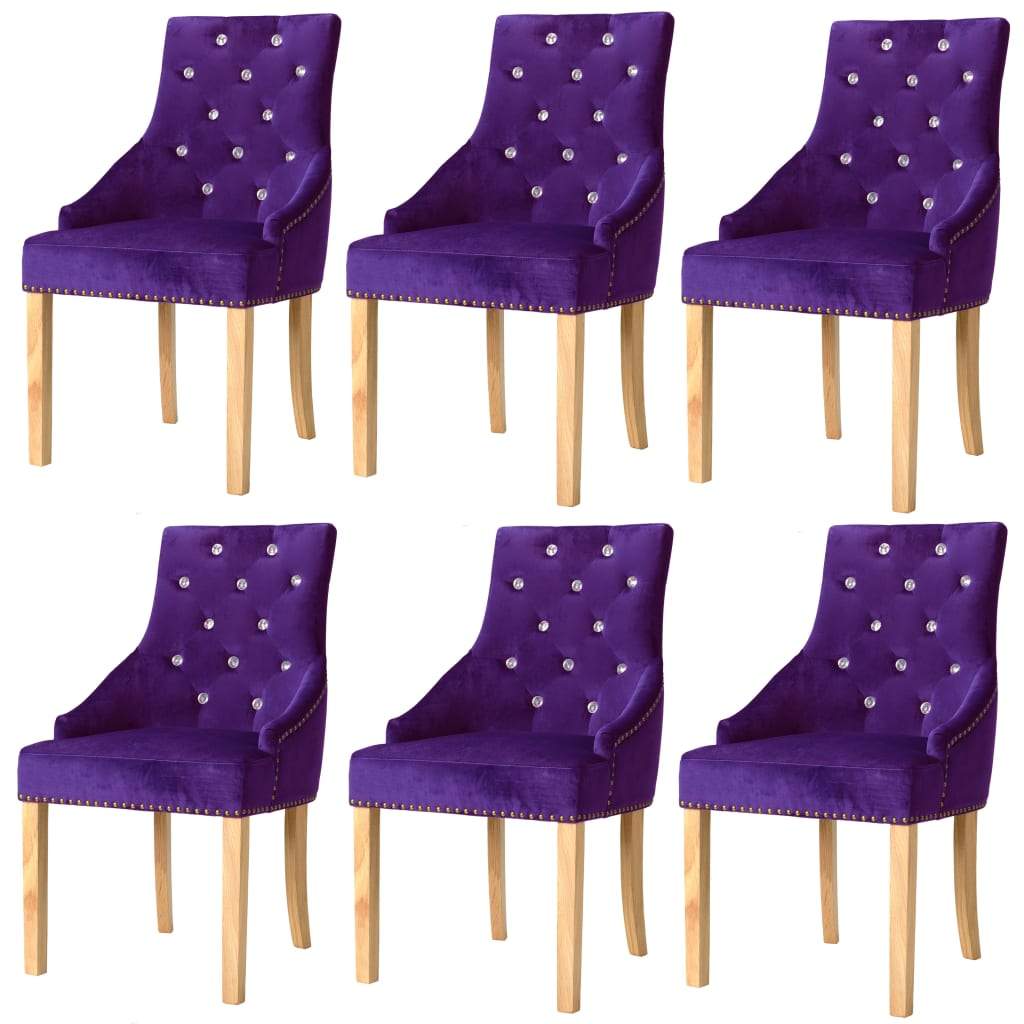 vidaXL Καρέκλες Τραπεζαρίας 6 τεμ. Μοβ Μασίφ Ξύλο Δρυός / Βελούδο