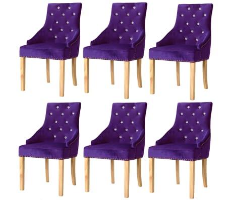 vidaXL Jídelní židle 6 ks fialové masivní dubové dřevo a samet