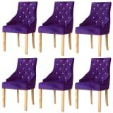 vidaXL Blagovaonske stolice 6 kom od masivne hrastovine i baršuna ljubičaste