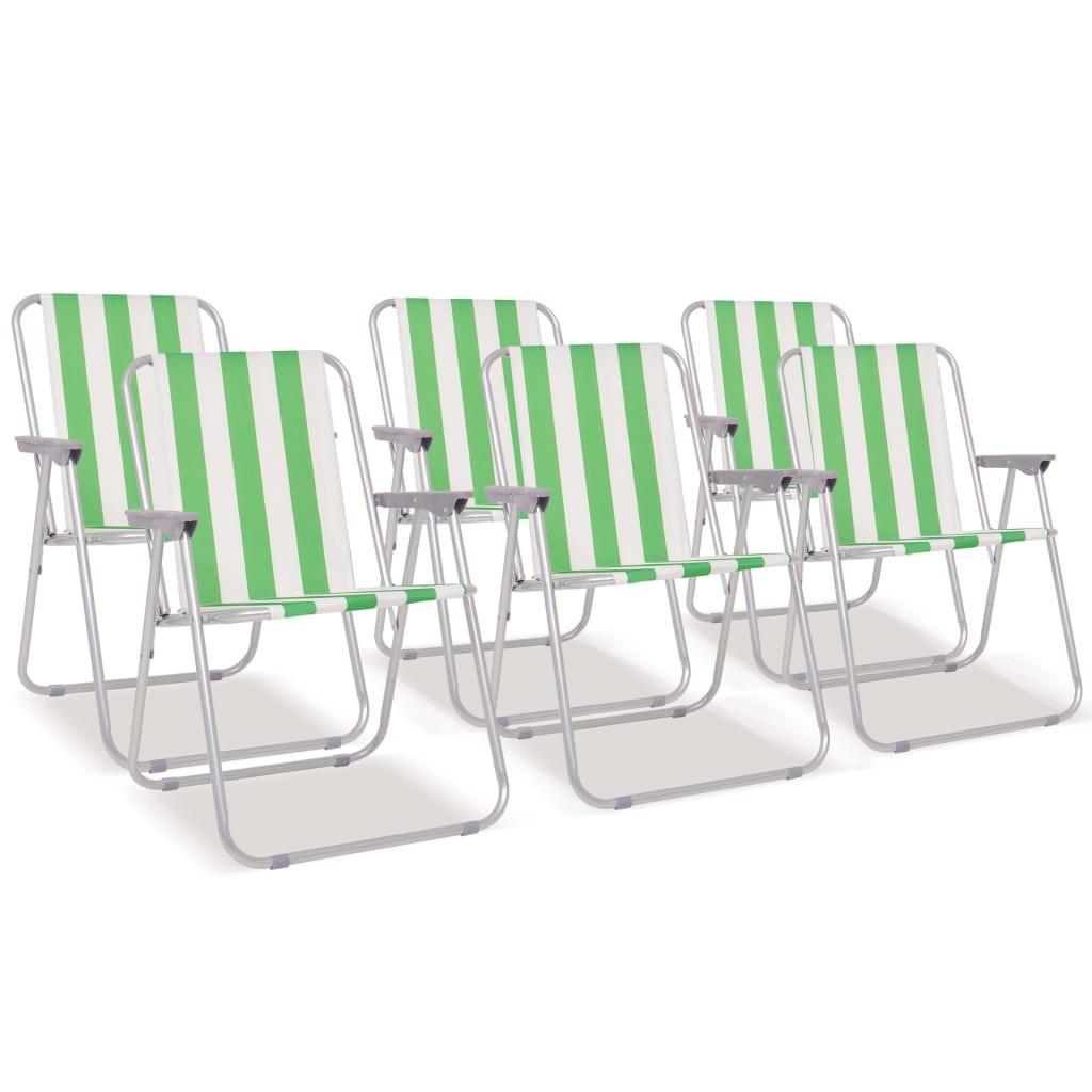 vidaXL Campingstoelen inklapbaar staal groen en wit 6 st