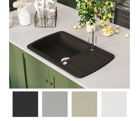 vidaXL Fregadero de cocina de un seno de granito[3/5]