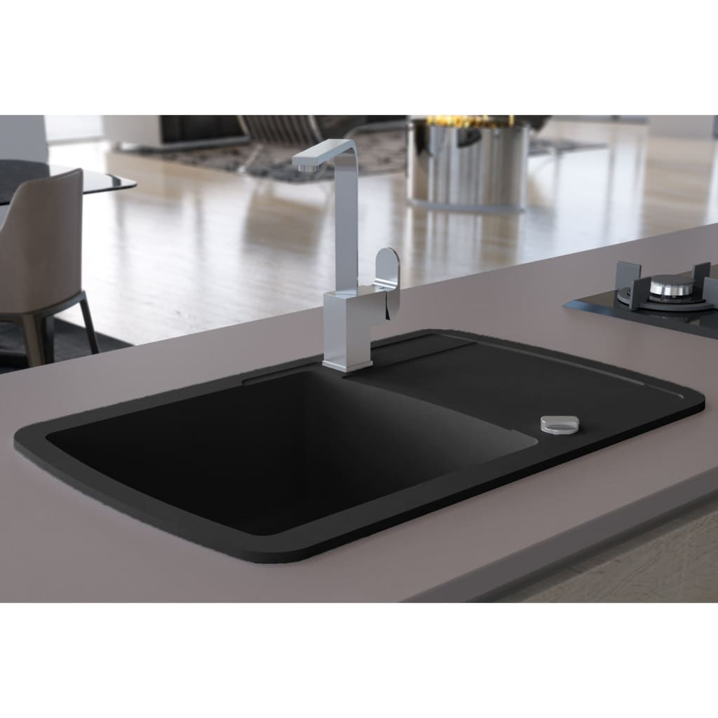 vidaXL Chiuvetă de bucătărie din granit cu o cuvă, negru imagine vidaxl.ro
