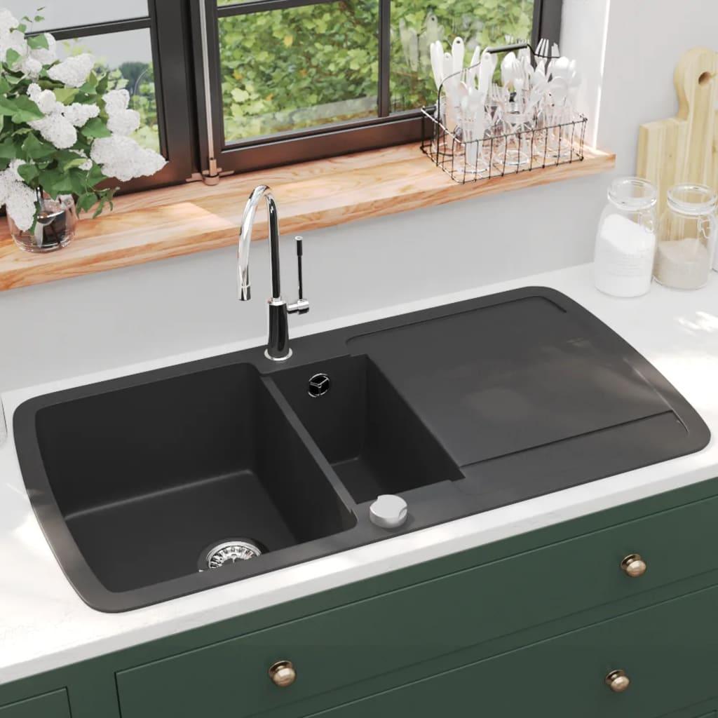 vidaXL Chiuvetă de bucătărie din granit cu două cuve, negru poza 2021 vidaXL