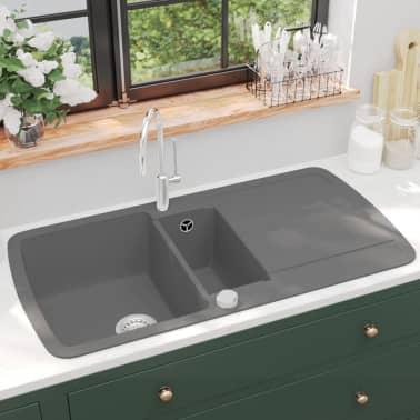 vidaXL Évier de cuisine en granit Double bac Gris[1/5]