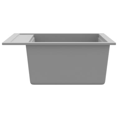 vidaXL Fregadero de cocina de un seno de granito gris[4/4]