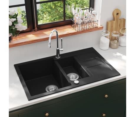 Details About Vidaxl Granite Kitchen Sink Double Basin Black Overmount With Basket Strainer