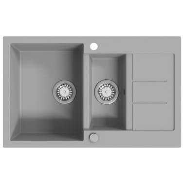 vidaXL Diskho granit dubbel grå[2/5]