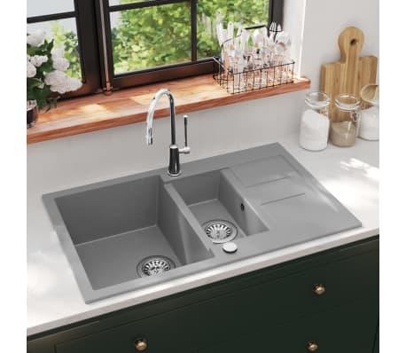 acheter vidaxl vier de cuisine en granit double bac gris pas cher. Black Bedroom Furniture Sets. Home Design Ideas