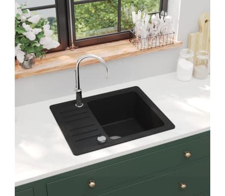 Details About Vidaxl Granite Kitchen Sink Single Basin Black Overmount With Basket Strainer