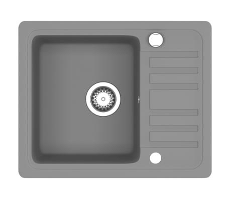 vidaXL Fregadero de cocina de granito con un seno gris[2/5]