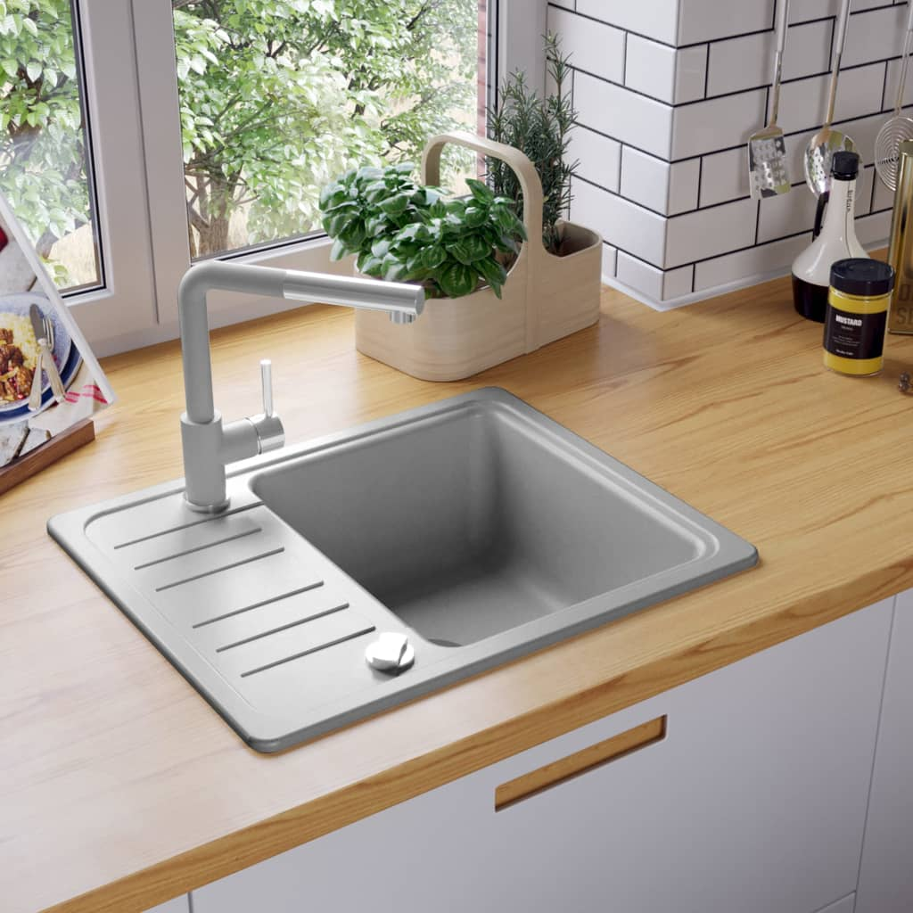 Details about grey granite kitchen sink single basin plumbing set w drainer reversible sale