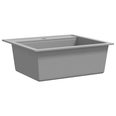 vidaXL Évier de cuisine en granit Bac unique Gris[3/5]