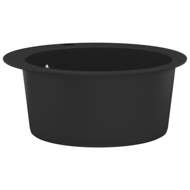 vidaXL Fregadero de cocina de granito con un seno redondo negro[3/5]