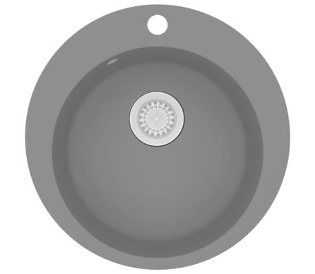 vidaXL Fregadero de cocina de granito con un seno redondo gris[2/5]