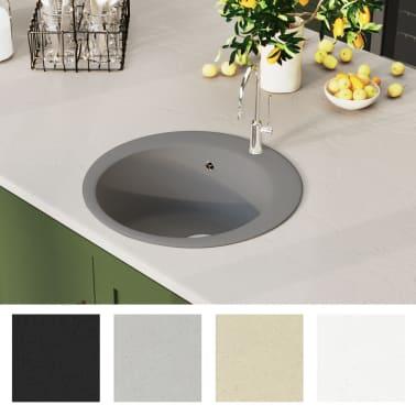 vidaXL Fregadero de cocina de granito con un seno redondo gris[3/5]