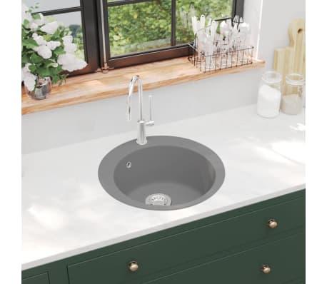 vidaXL Diskho granit enkel rund grå[1/5]