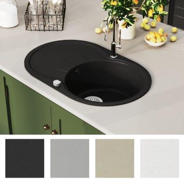 vidaXL Fregadero de cocina de granito con un seno ovalado negro[3/5]
