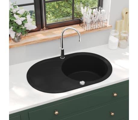 vidaXL Fregadero de cocina de granito con un seno ovalado negro[1/5]