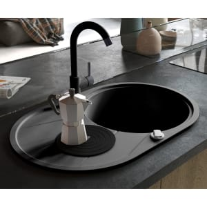 Manestein Fregadero de cocina de granito con sif/ón color gris 1 seno 48 x 39 cm