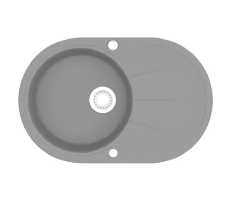 vidaXL Granitowy zlewozmywak jednokomorowy, owalny, szary[2/5]