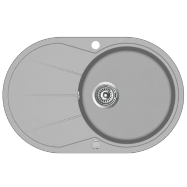 vidaXL Diskho granit enkel oval grå[2/5]
