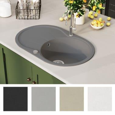 vidaXL Diskho granit enkel oval grå[3/5]
