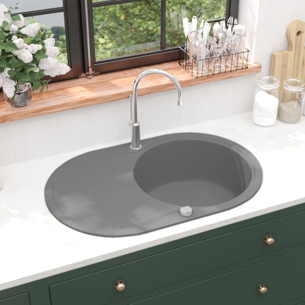 vidaXL Chiuvetă de bucătărie din granit cu o cuvă, gri, oval imagine vidaxl.ro