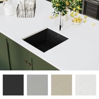 vidaXL Fregadero de cocina de granito con un seno negro[3/5]