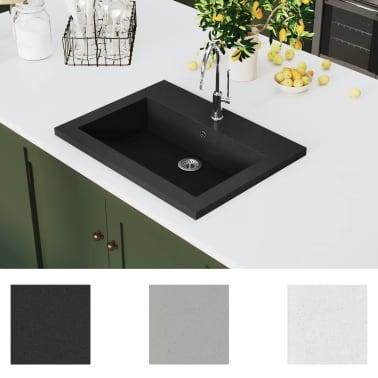 vidaXL Granitbecken 600×450×120 mm Schwarz[3/5]