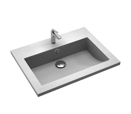 vidaXL Lavabo de granito gris 600x450x120 mm[4/5]