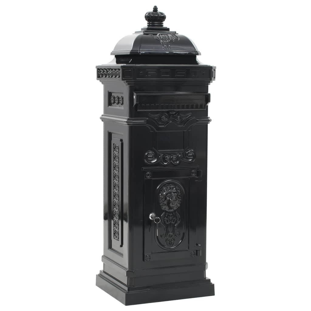 99943888 Säulenbriefkasten Aluminium Vintage-Stil Rostfrei Schwarz