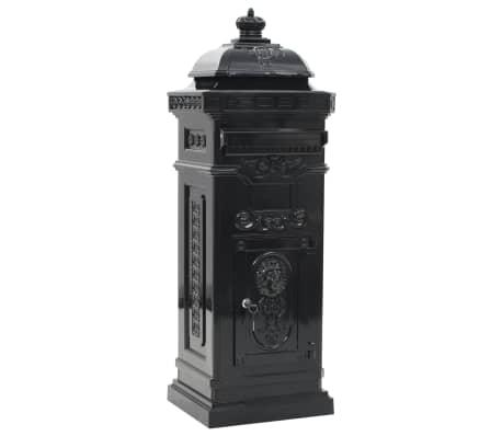 vidaXL Cutie poștală stâlp, aluminiu, stil vintage, inoxidabil, negru[2/15]