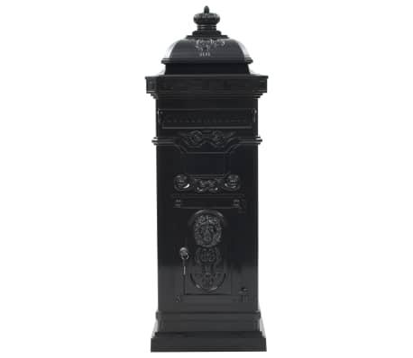 vidaXL Cutie poștală stâlp, aluminiu, stil vintage, inoxidabil, negru[3/15]