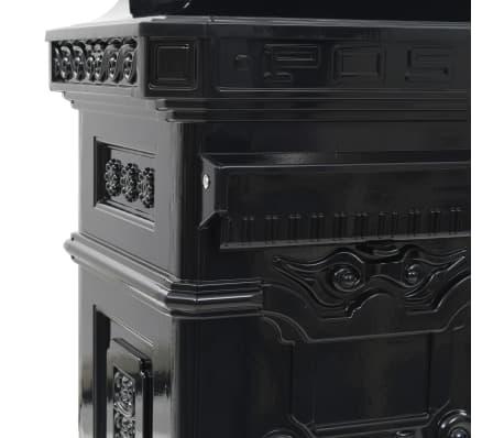 vidaXL Cutie poștală stâlp, aluminiu, stil vintage, inoxidabil, negru[12/15]