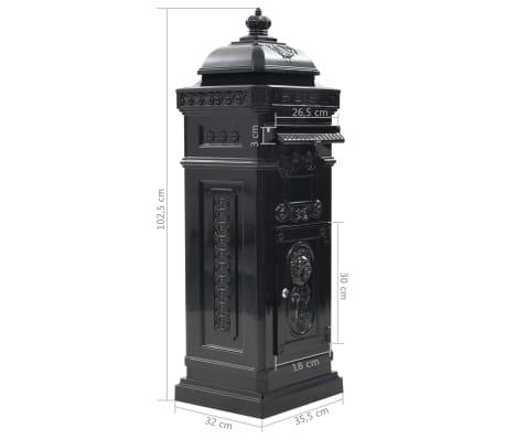 vidaXL Cutie poștală stâlp, aluminiu, stil vintage, inoxidabil, negru[15/15]