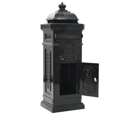 vidaXL Cutie poștală stâlp, aluminiu, stil vintage, inoxidabil, negru[4/15]