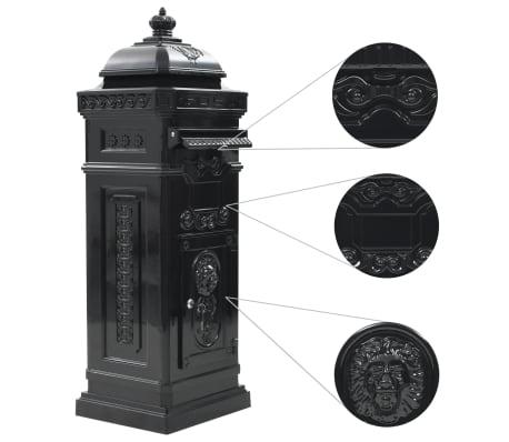 vidaXL Cutie poștală stâlp, aluminiu, stil vintage, inoxidabil, negru[5/15]