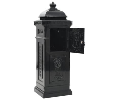 vidaXL Cutie poștală stâlp, aluminiu, stil vintage, inoxidabil, negru[9/15]