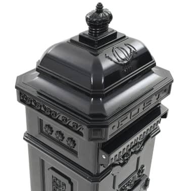 vidaXL Cutie poștală stâlp, aluminiu, stil vintage, inoxidabil, negru[10/15]