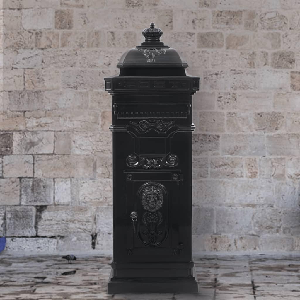 vidaXL Sloupová poštovní schránka ve vintage stylu rezuvzdorná černá