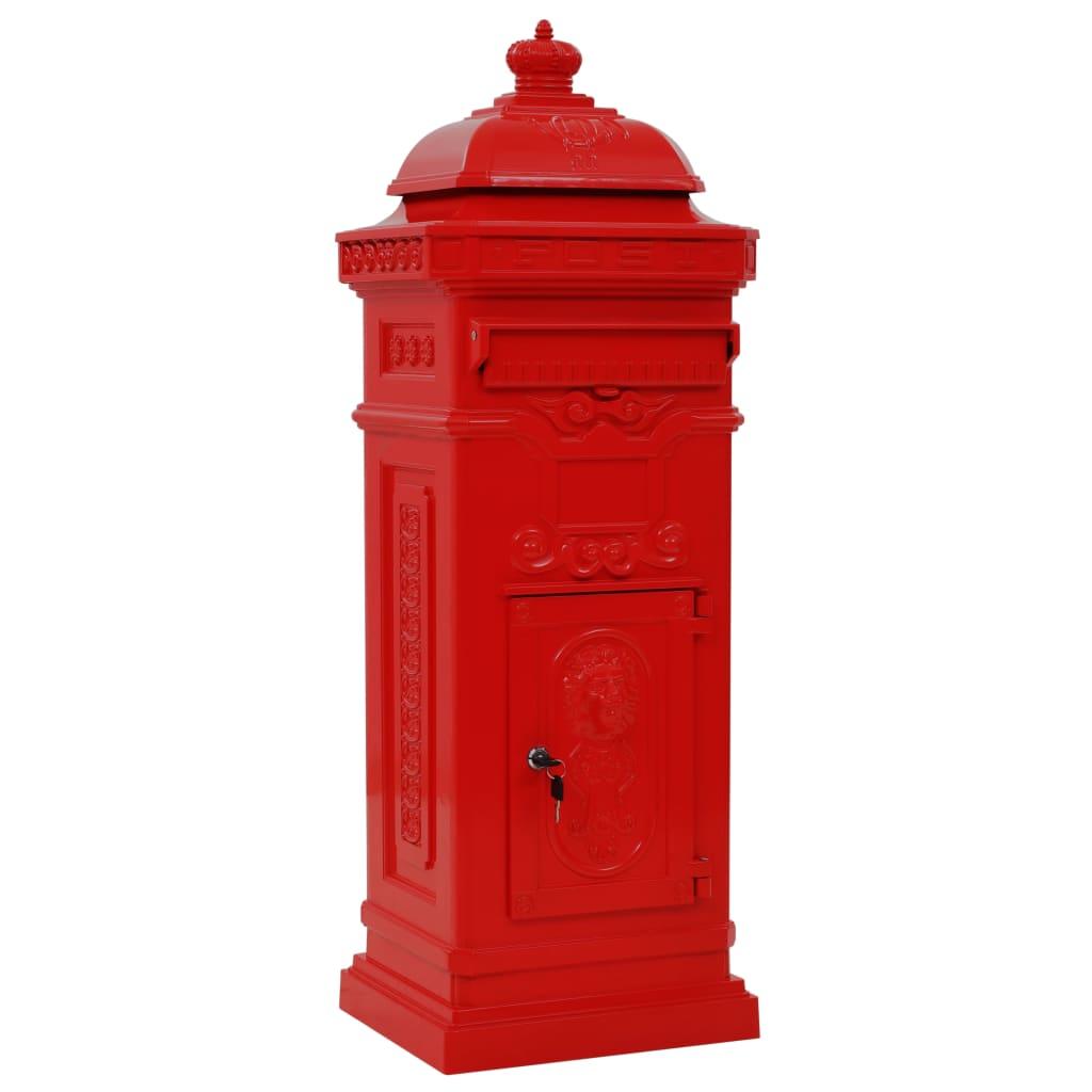 Afbeelding van vidaXL Pilaar brievenbus vintage stijl roestbestendig aluminium rood