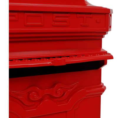 vidaXL Pašto dėžutė, kolonos pavid., aliuminis, nerūdijanti, raudona[13/15]