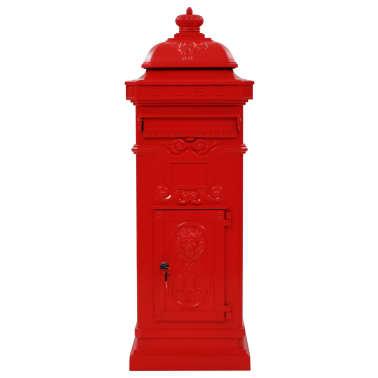 vidaXL Pašto dėžutė, kolonos pavid., aliuminis, nerūdijanti, raudona[3/15]