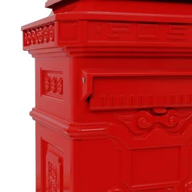 vidaXL Pašto dėžutė, kolonos pavid., aliuminis, nerūdijanti, raudona[12/15]