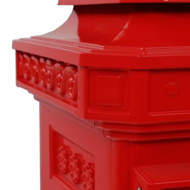 vidaXL Pašto dėžutė, kolonos pavid., aliuminis, nerūdijanti, raudona[14/15]
