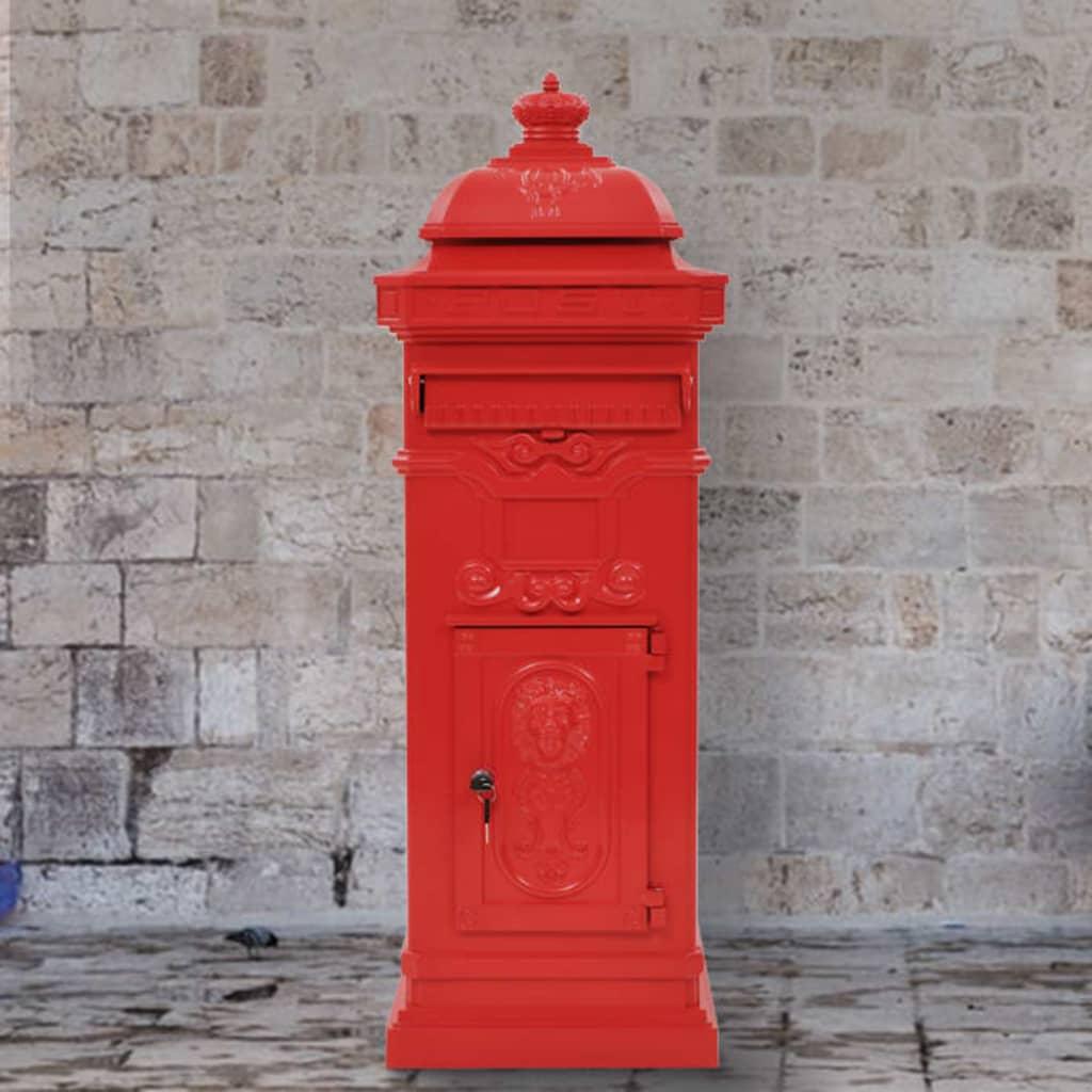 vidaXL Sloupová poštovní schránka ve vintage stylu rezuvzdorná červená