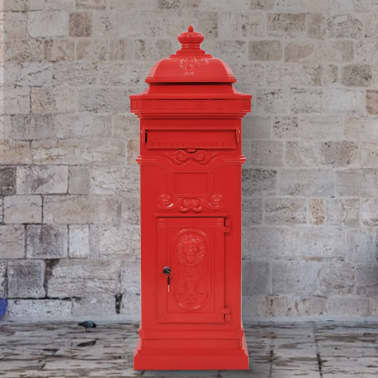 vidaXL Pašto dėžutė, kolonos pavid., aliuminis, nerūdijanti, raudona[1/15]