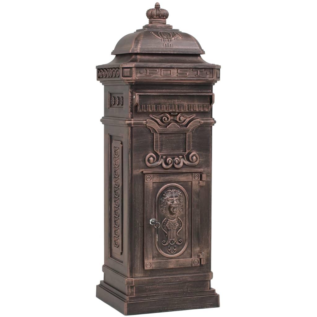 vidaXL Sloupová poštovní schránka ve vintage stylu rezuvzdorná bronz