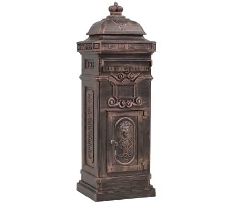 vidaXL Cutie poștală stâlp, aluminiu, stil vintage, inoxidabil, bronz[2/14]