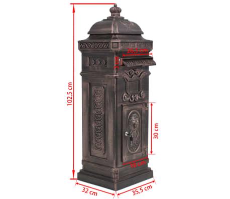 vidaXL Cutie poștală stâlp, aluminiu, stil vintage, inoxidabil, bronz[14/14]